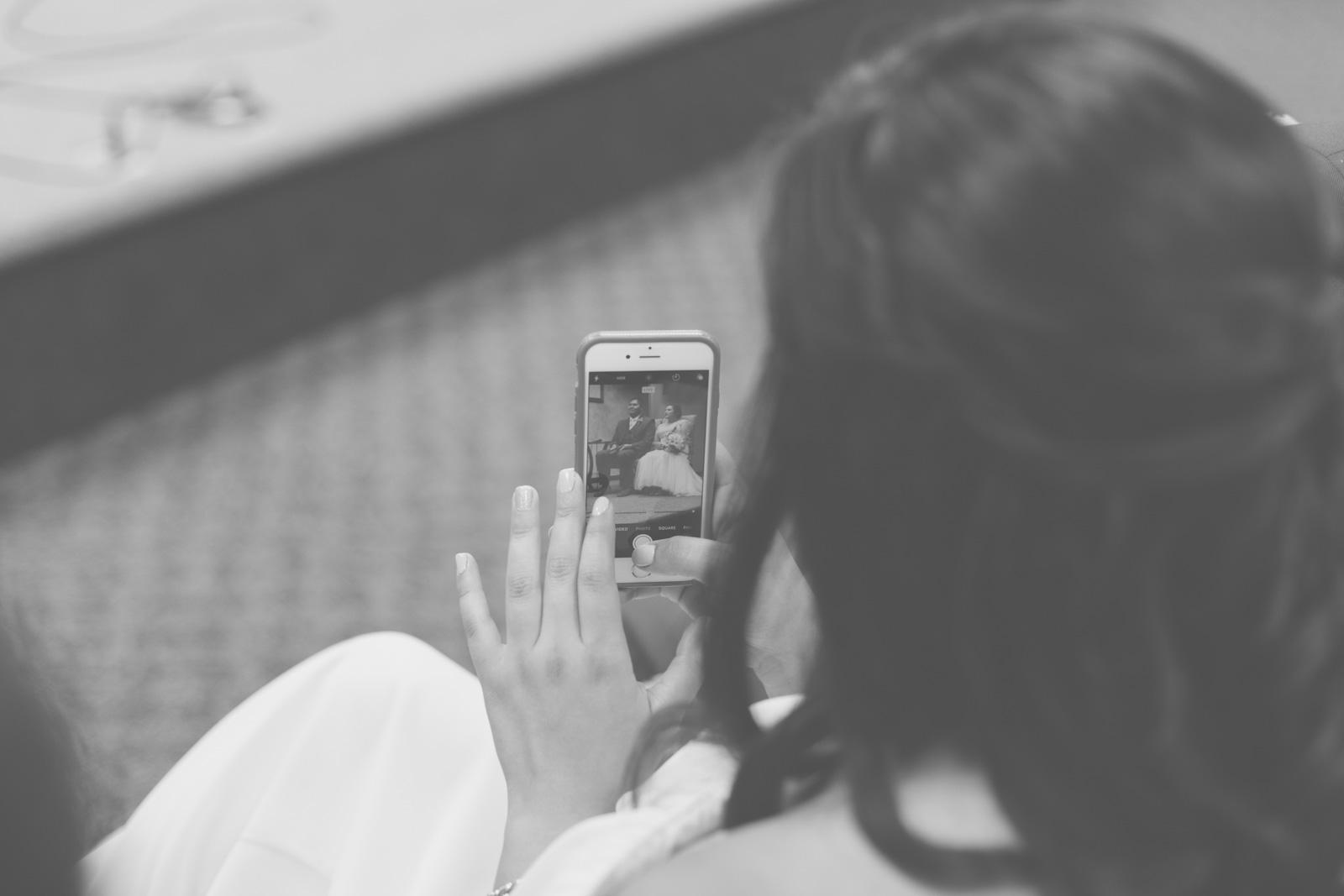 bride and groom phone