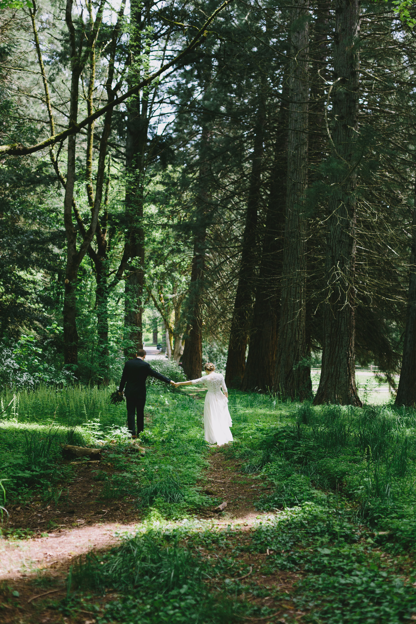 Bride and Groom Walking - Forest
